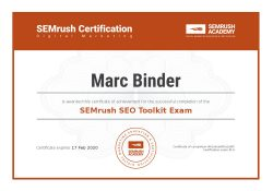 accredited, professional, Marc Binder, zertifikat, Digital Marketing, experte, semrush, SEO, exam