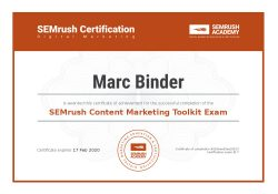 accredited, professional, Marc Binder, zertifikat, Digital Marketing, experte, semrush, exam